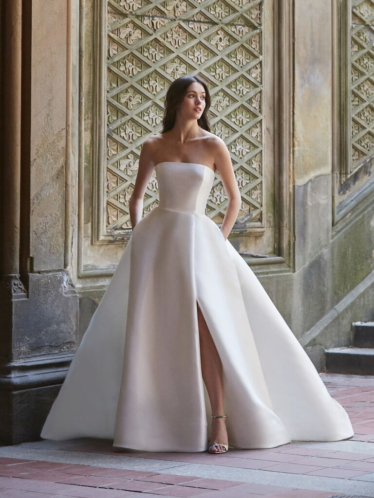 afd997e0be54 Bliss by Monique Lhuillier Spring 2020 Bridal Collection structured white  strapless ball gown