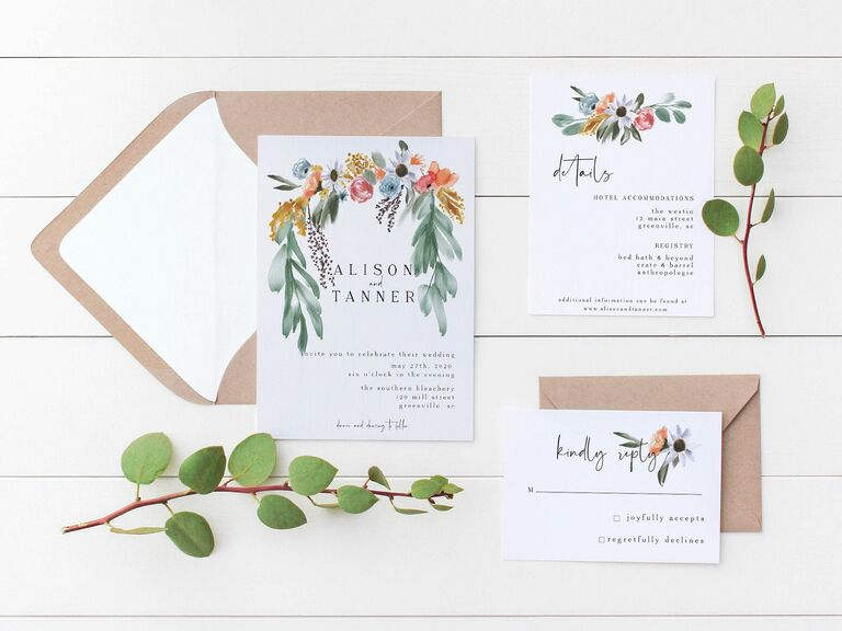 wedding template with floral garland design