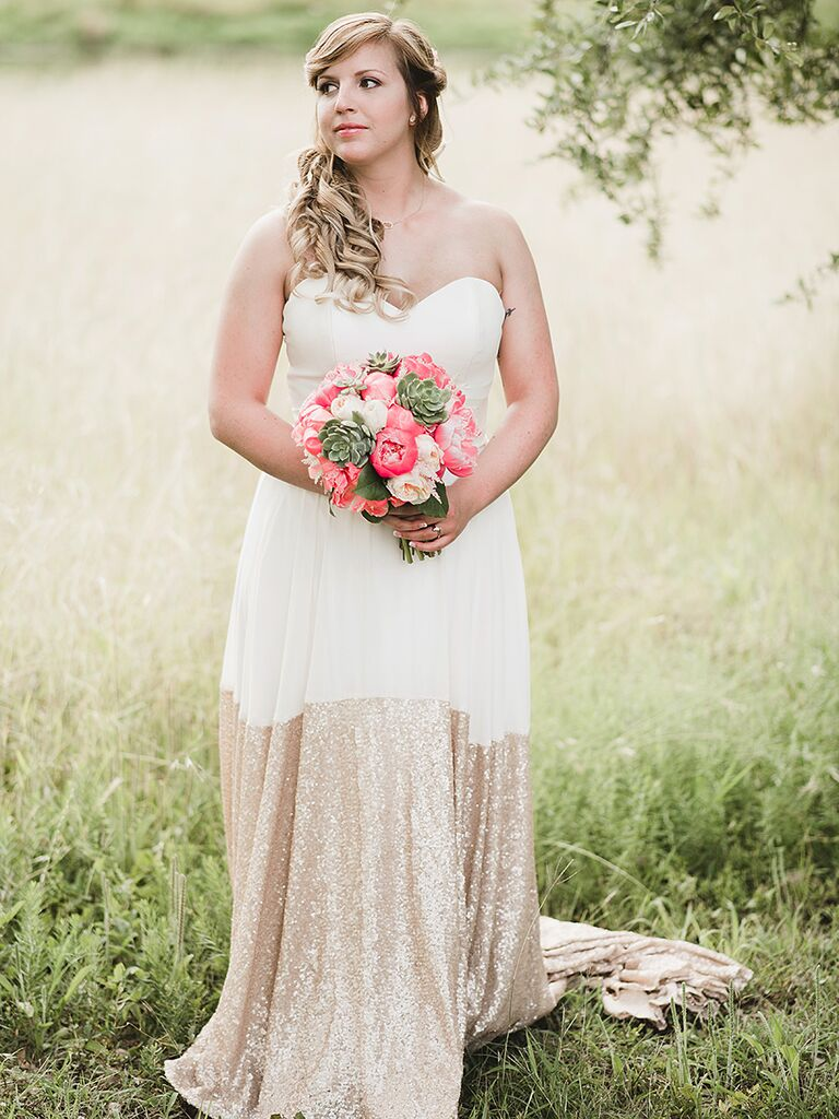 Truvelle wedding gown color blocked with white and gold sequins