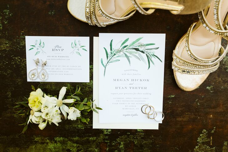Classic Wedding Invitations with Watercolor Greenery