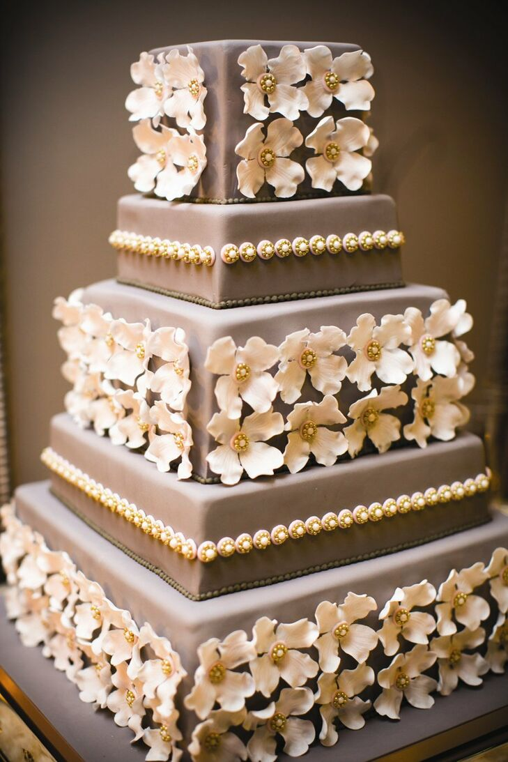 Flower-Embellished Wedding Cake