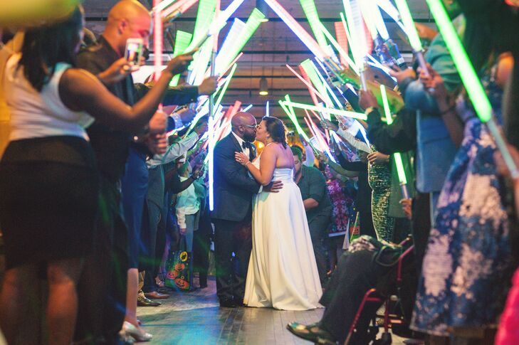 Couple Kisses During Lightsaber Send-Off