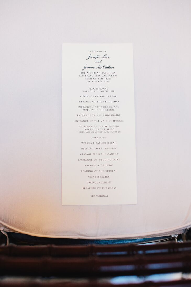 White Simple Ceremony Program Cards