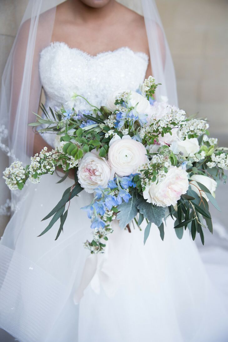 Spring Blush, Blue and White Bouquet of Peonies, Ranunculus and Delphiniums