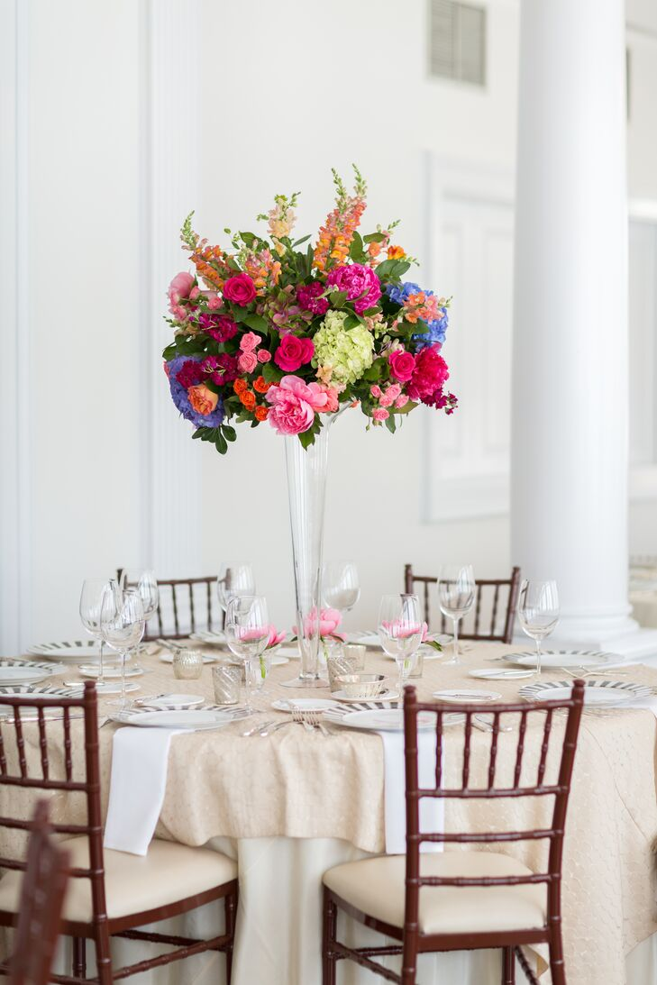 Colorful Tall Centerpiece with Peonies, Delphinium and Roses