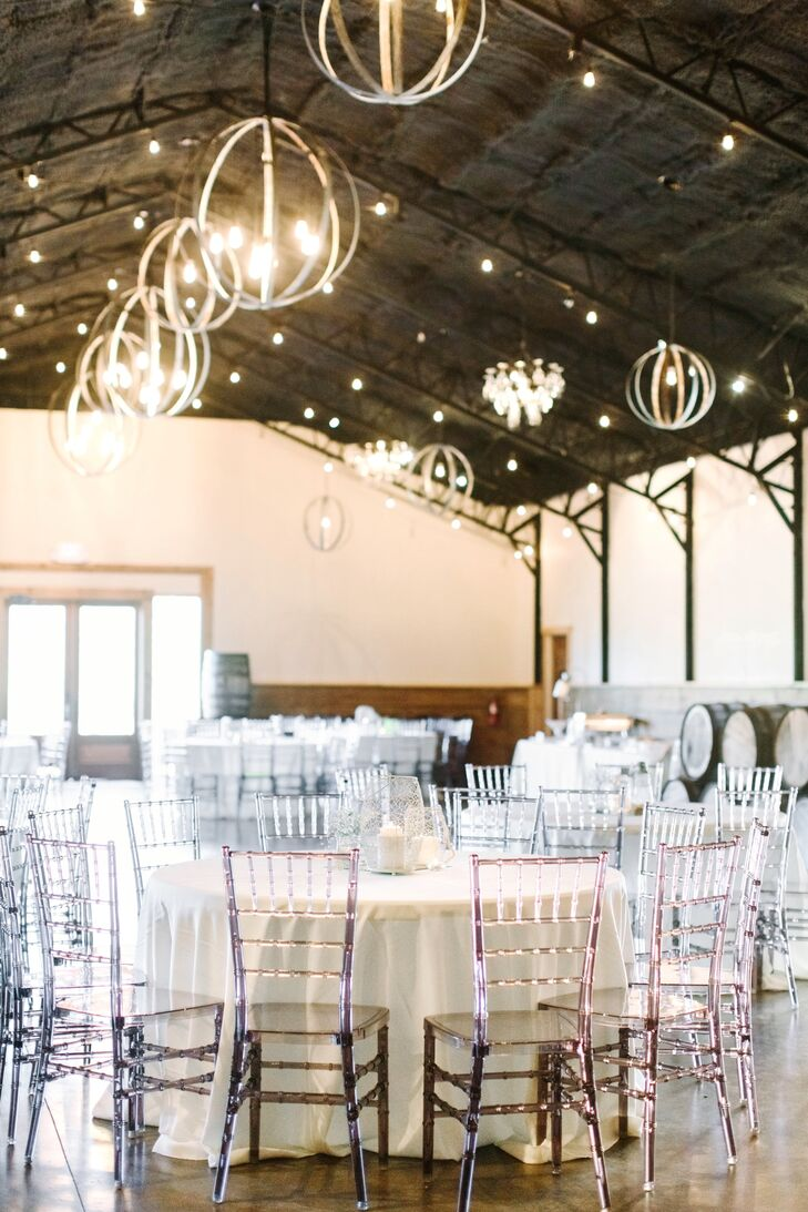 """Our reception was held in the barn on-site at Sassafras Springs Vineyard. We loved having the ceremony and reception space on the same grounds,"" Lydia says. ""Our family and friends were able to simply enjoy the afternoon. It felt very relaxed, yet celebratory."""
