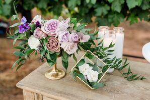 Cascading Purple Rose Flower Arrangement