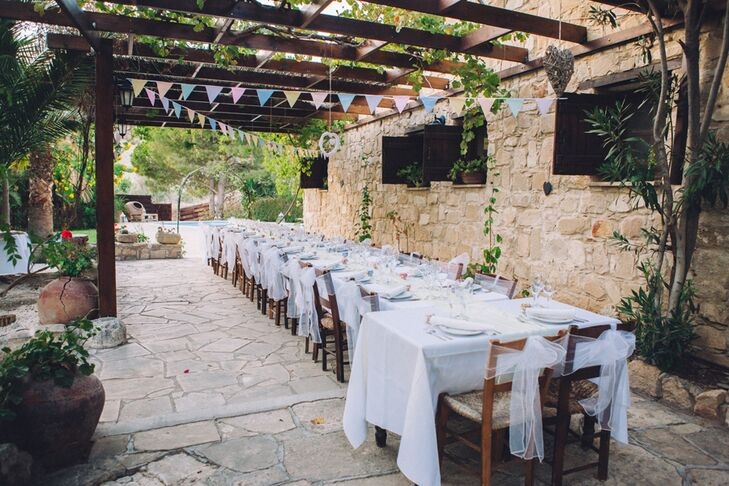 The couple served a traditional 3-course Cypriot meal (with lots of wine) prepared by the Vasilias Nikoklis Inn.