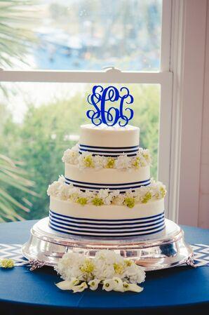 Preppy Navy and White Wedding Cake