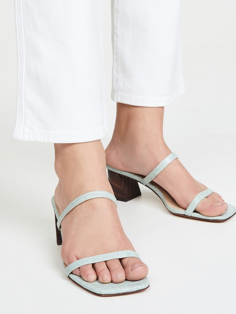 Blue sandal beach wedding shoes