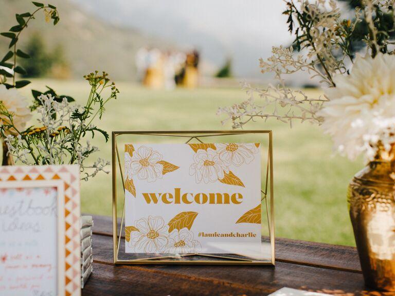 Gold wedding signage with custom hashtag