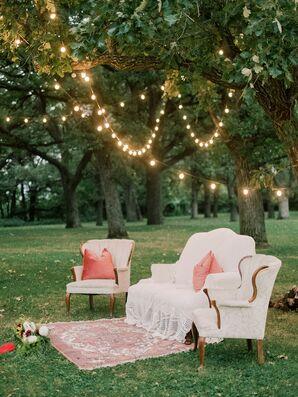 Lounge Area Under Light-Filled Tree Grove