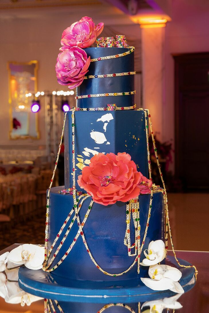 Jewelry-Covered Cake for Wedding at Shadowbrook at Shrewsbury in New Jersey
