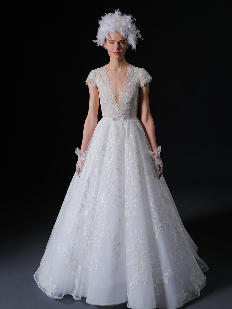 Isabelle Armstrong Spring 2020 Bridal Collection cap sleeve lace A-line wedding dress