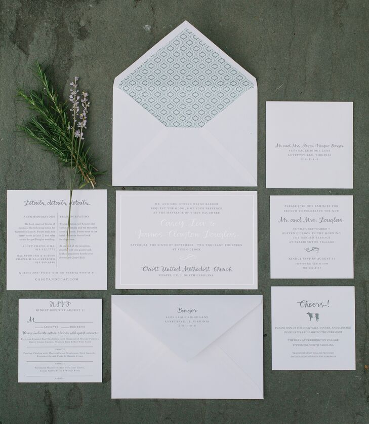 """Neither of us have a favorite color and prefer a clean, natural look,"" says Casey. ""The invitations were all madernfrom sustainable bamboo paper with elegant letterpress."""