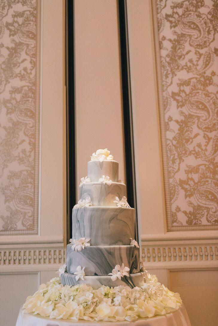 Gray Marble Fondant Wedding Cake
