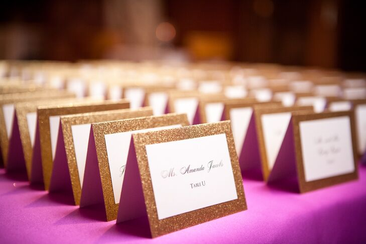"""""""The escort cards were one of my favorite details,"""" Felicia says of the glittery touch."""