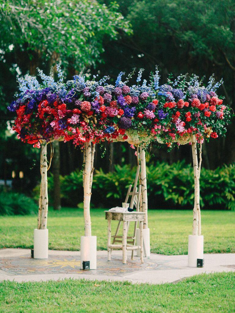 A Lush Floral and Wood Chuppah