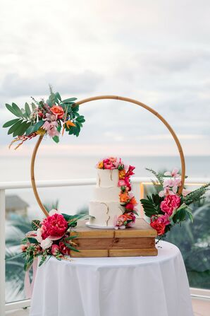 Tropical Wedding Cake for Beach Wedding at the Marco Island Marriott in Florida