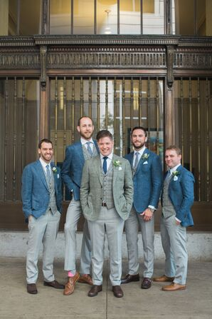 Navy Wool and Plaid Three Piece Suits