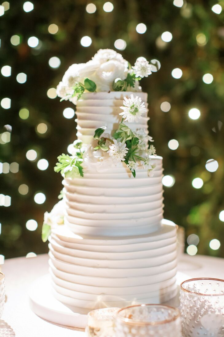 Three-Tier Cake With Combed White Icing
