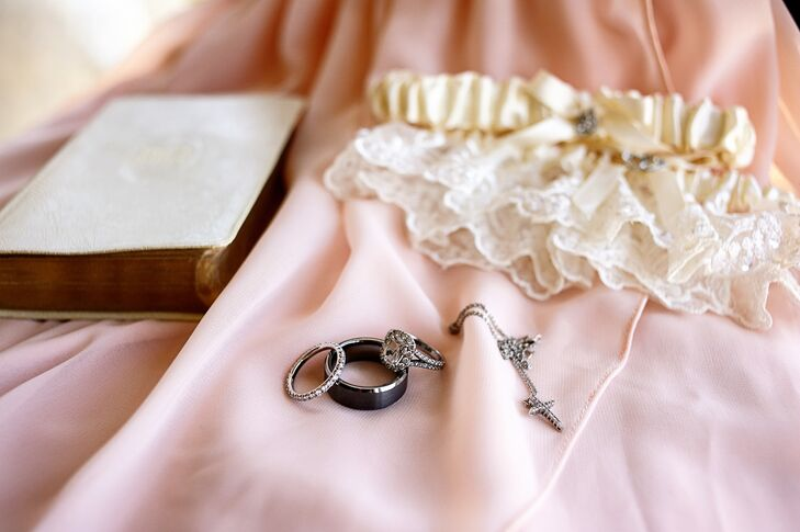 Silver Wedding Rings and Cross Necklace
