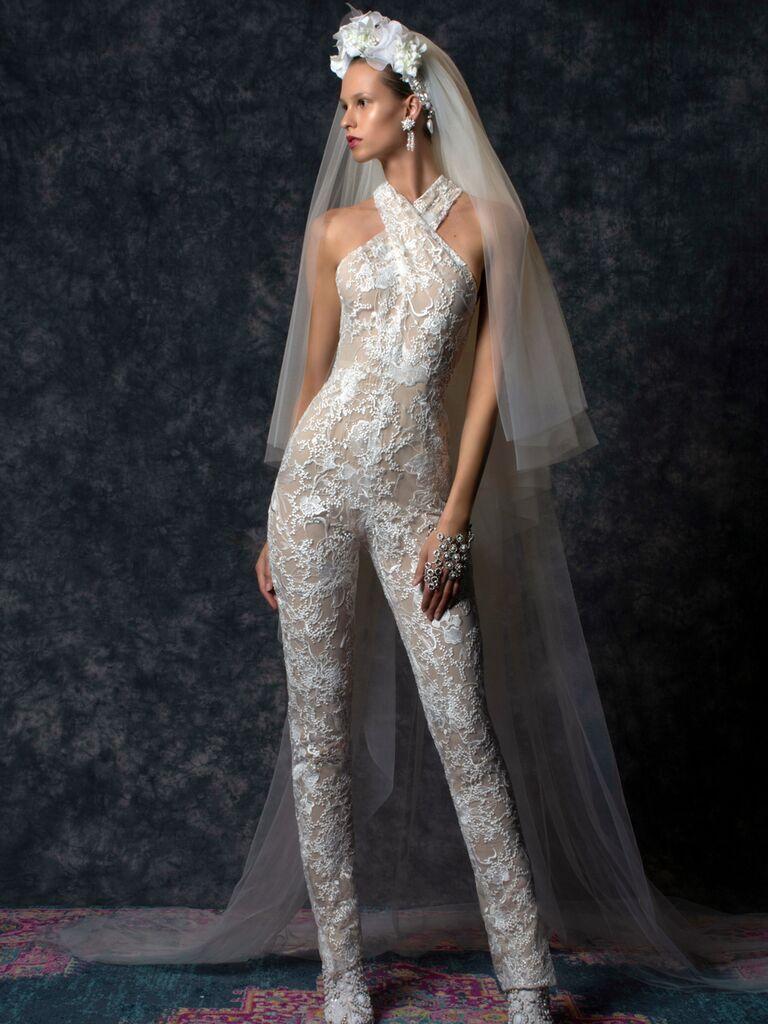 Naeem Khan Spring 2020 Bridal Collection lace bridal jumpsuit