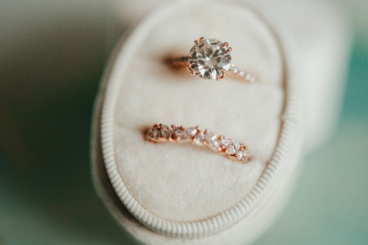 Classic Solitaire Engagement Ring and Gold Pave Wedding Band