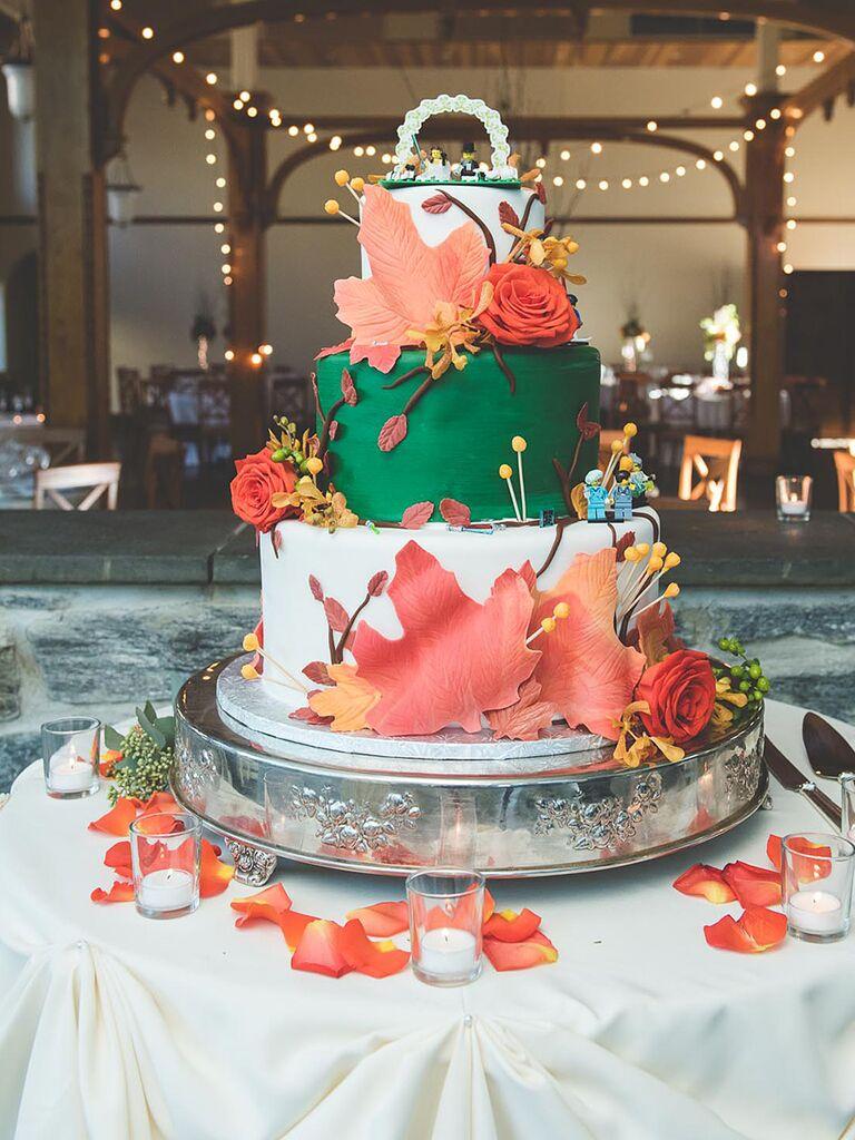 Fall decorated wedding cake