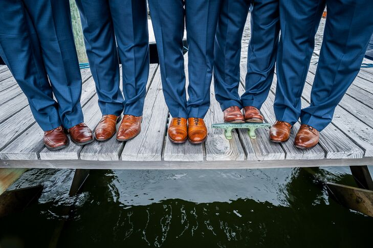 Groomsmen In Blue Suits With Tan Shoes