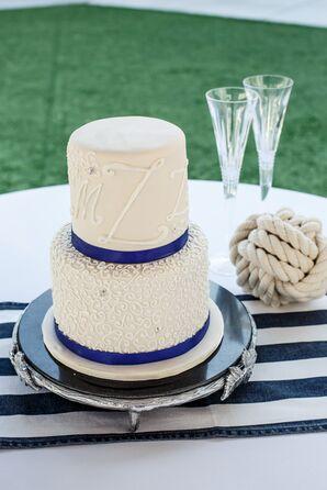 Navy and White Nautical Monogrammed Wedding Cake
