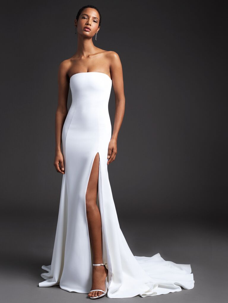 Cushnie Spring 2020 Bridal Collection strapless wedding dress with a high slit
