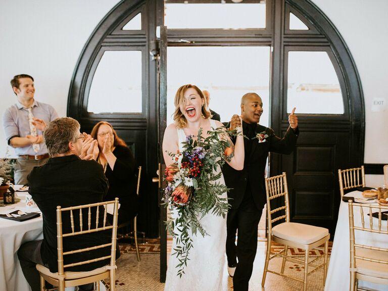 Bride and groom reception entrance