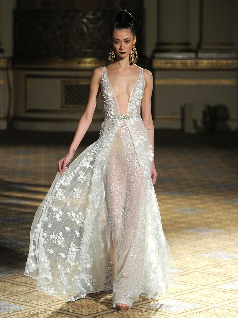 a403cd94a40 Berta Spring Summer 2018 high slit wedding dress with 3D lace flowers and plunging  v