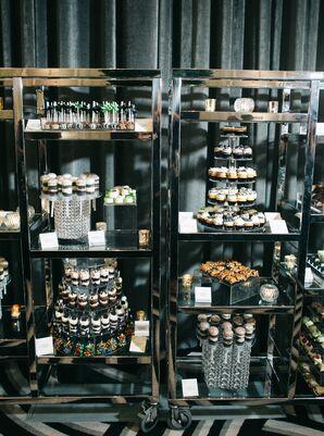 Modern Dessert Display with Shelves of Dessert Shooters