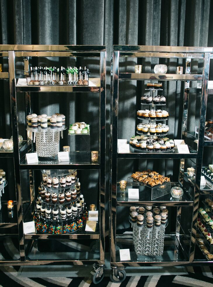 Modern Dessert Display with Shelves of Dessert Shooters