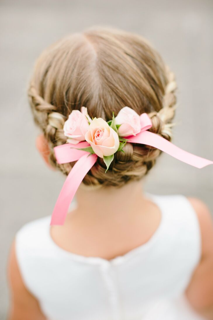 Stupendous Braided Flower Girl Updo With Floral Accent Schematic Wiring Diagrams Amerangerunnerswayorg