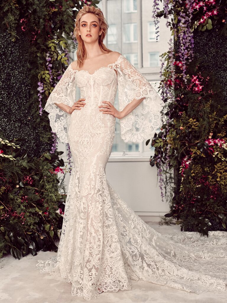 Rivini by Rita Vinieris Spring 2020 Bridal Collection lace fit-and-flare wedding dress with dramatic bell sleeves