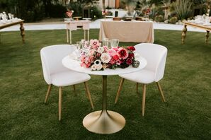 White Furniture with Pink Flower Arrangement