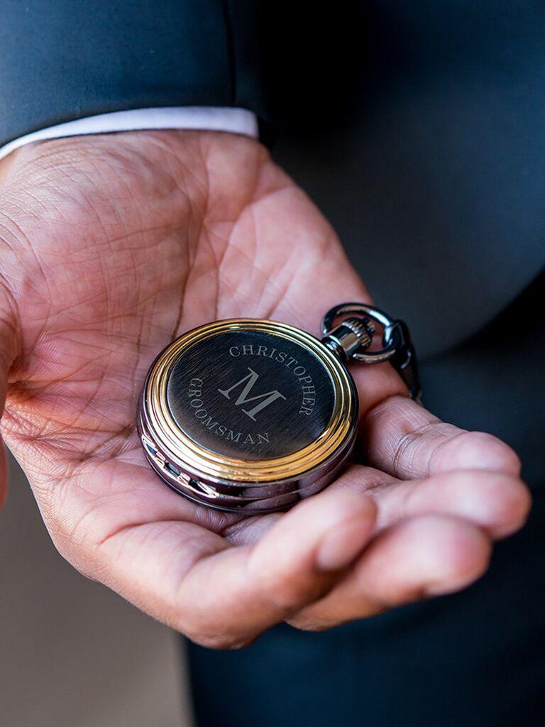 Personalized groomsmen proposal pocket watch