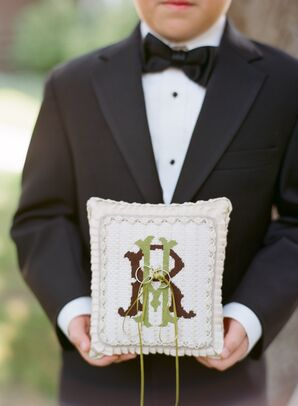 Embroidered Initial Ring Pillow