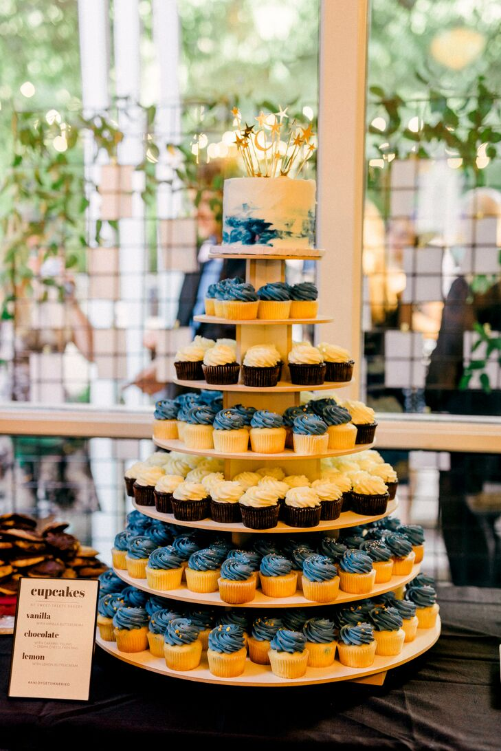 Modern, Celestial-Themed Tiered Cupcake Display