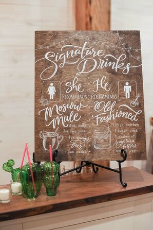 Rustic Wood Sign with White Calligraphy