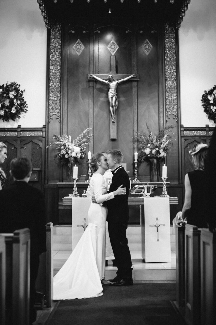 First Kiss at Formal Church Wedding in California