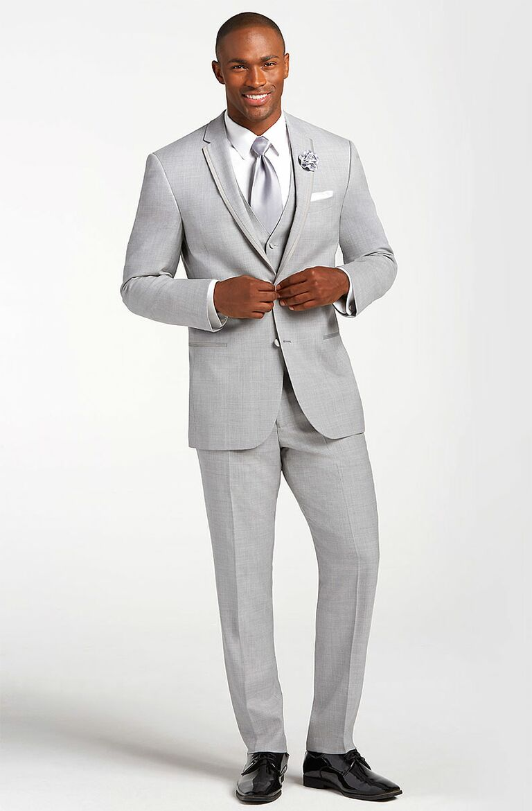 Light Gray Suit Mens Beach Wedding Attire