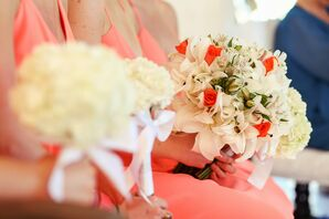 Coral and White Bouquet With Pearl Wrap