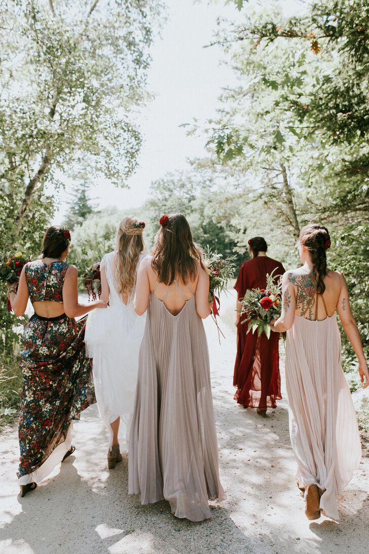 Mismatched Burgundy and Blush Bridesmaid Dresses