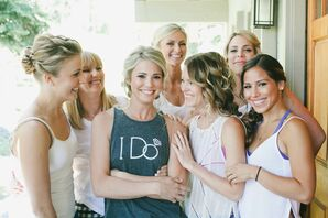 Bride Getting Ready with Bridesmaids in Custom Tank