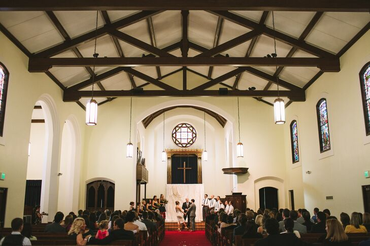 Megan and Ray exchanged vows at The North Chapel in San Diego. They loved the rustic venue with vaulted wood-beamed ceilings, ornate stained glass windows and gothic chandeliers.