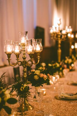 Rustic Gold Candelabra Centerpieces